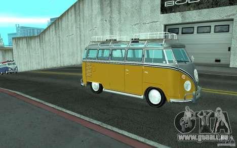Volkswagen Transporter T1 SAMBAQ CAMPERVAN pour GTA San Andreas laissé vue