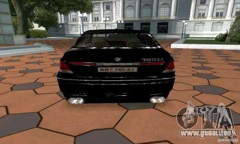 BMW 760LI pour GTA San Andreas sur la vue arrière gauche