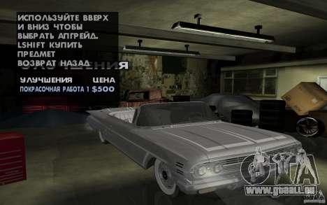 Chevrolet Impala 1960 pour GTA San Andreas vue arrière