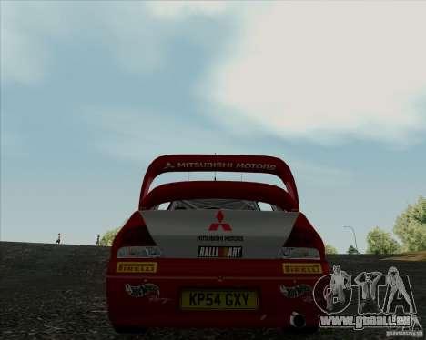Mitsubishi Lancer Evolution VIII WRC pour GTA San Andreas sur la vue arrière gauche