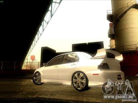 Mitsubishi Lancer Evolution VIII Full Tunable pour GTA San Andreas vue de côté
