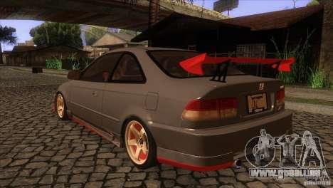 Honda Civic SI pour GTA San Andreas sur la vue arrière gauche