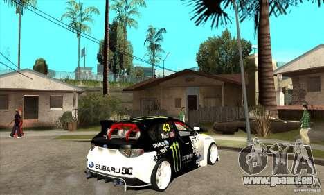 Subaru Impreza 2009 (Ken Block) pour GTA San Andreas vue de droite