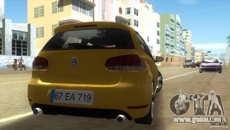 Volkswagen Golf 6 GTI pour GTA Vice City sur la vue arrière gauche