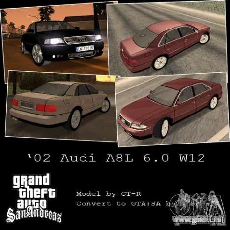 Audi A8 Long 6.0 W12 2002 pour GTA San Andreas