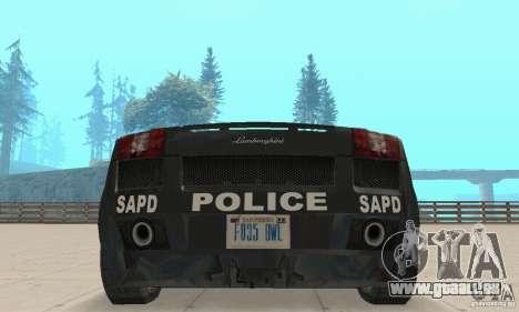 Lamborghini Gallardo Police pour GTA San Andreas vue intérieure