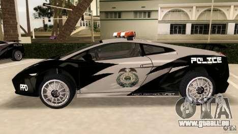 Lamborghini Gallardo Police pour une vue GTA Vice City de la gauche