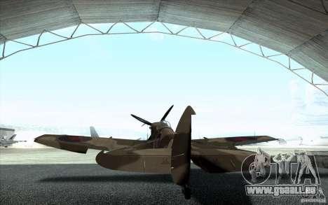 Spitfire pour GTA San Andreas sur la vue arrière gauche