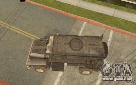 Military Truck pour GTA San Andreas sur la vue arrière gauche