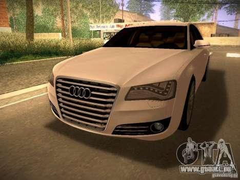 Audi A8 2010 für GTA San Andreas zurück linke Ansicht