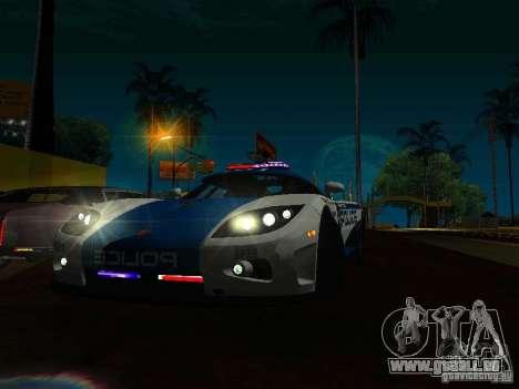 Koenigsegg CCX Police für GTA San Andreas Rückansicht