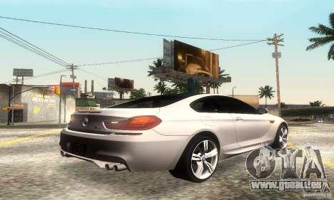 BMW M6 Coupe 2013 pour GTA San Andreas vue arrière