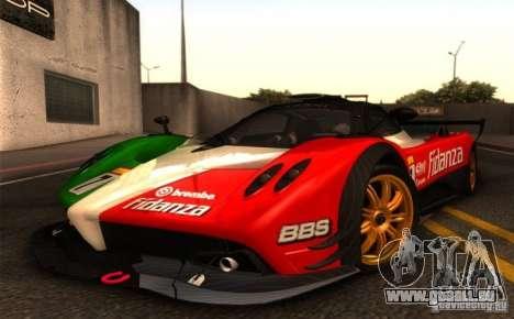 Pagani Zonda R pour GTA San Andreas sur la vue arrière gauche