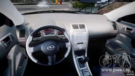 Toyota Scion tC 2.4 Stock pour GTA 4 Vue arrière
