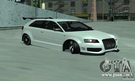 Audi S3 Full tunable pour GTA San Andreas laissé vue