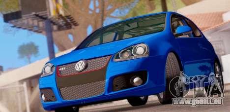 VW Golf V GTI 2006 pour GTA San Andreas sur la vue arrière gauche