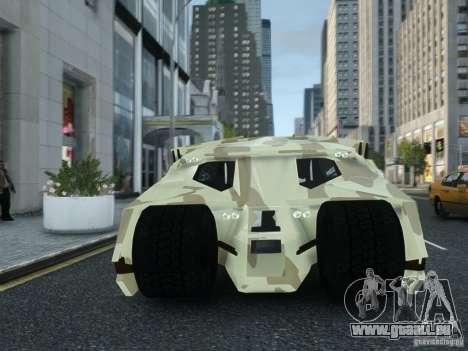 HQ Batman Tumbler pour GTA 4 Vue arrière