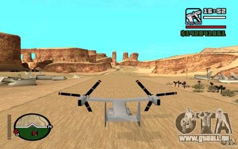Bell V-22 Osprey pour GTA San Andreas sur la vue arrière gauche