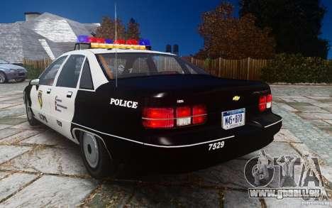 Chevrolet Caprice 1991 Police pour GTA 4 Vue arrière de la gauche
