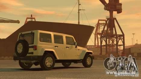 Jeep Wrangler Unlimited Rubicon 2013 pour GTA 4 Vue arrière de la gauche