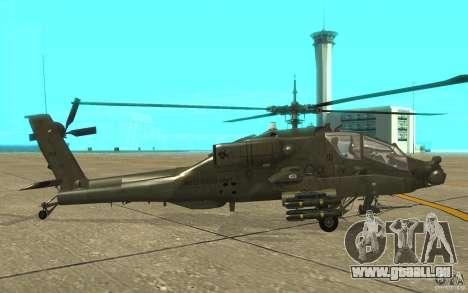 AH-64 Apache pour GTA San Andreas sur la vue arrière gauche