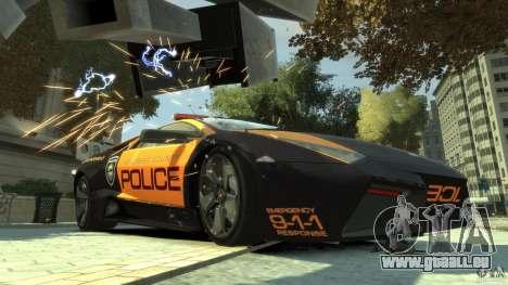 Lamborghini Reventon Police Hot Pursuit pour GTA 4 est une gauche