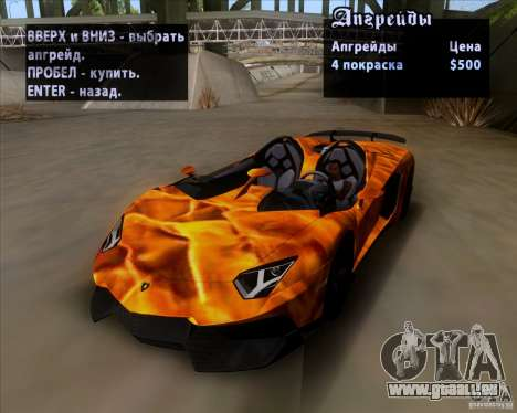 Lamborghini Aventador J TT Black Revel pour GTA San Andreas vue de dessous