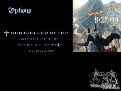 Le menu principal dans le style de GTA 5 pour GTA San Andreas deuxième écran