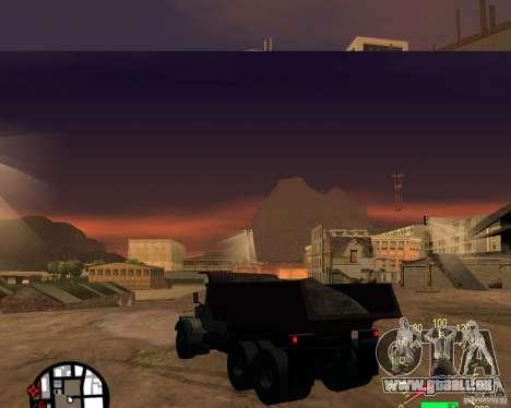 Camion à benne basculante KrAZ-256 pour GTA San Andreas sur la vue arrière gauche