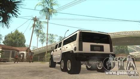 Hummer H6 pour GTA San Andreas sur la vue arrière gauche