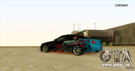 Nissan Skyline R34 Evil Empire für GTA San Andreas Rückansicht