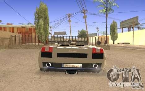 Lamborghini Galardo Spider für GTA San Andreas Innenansicht