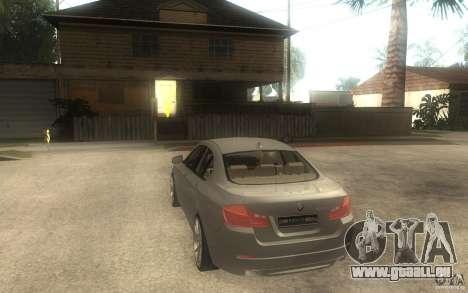 BMW 550i F10 für GTA San Andreas zurück linke Ansicht