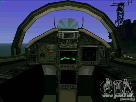 Eurofighter-2000 Typhoon pour GTA San Andreas vue intérieure