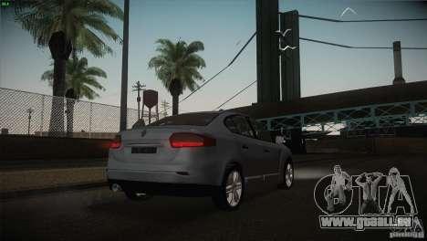 Renault Fluence pour GTA San Andreas vue de dessus