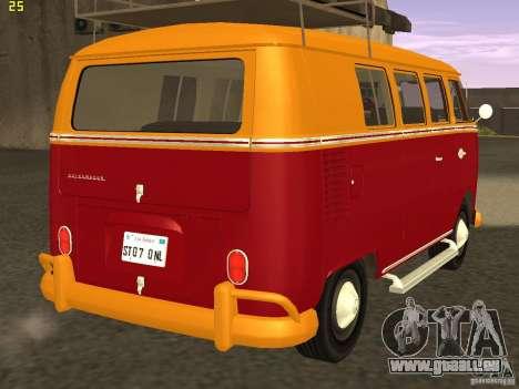 Volkswagen Transporter T1 Camper für GTA San Andreas zurück linke Ansicht