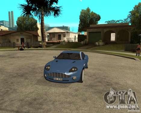 Aston Martin Vanquish pour GTA San Andreas vue intérieure