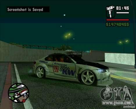 Bmw M3 2008 E92 pour GTA San Andreas sur la vue arrière gauche