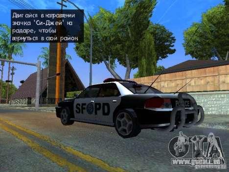 San-Fierro Sultan Copcar pour GTA San Andreas sur la vue arrière gauche