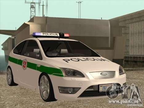 Ford Focus ST Policija für GTA San Andreas Innenansicht