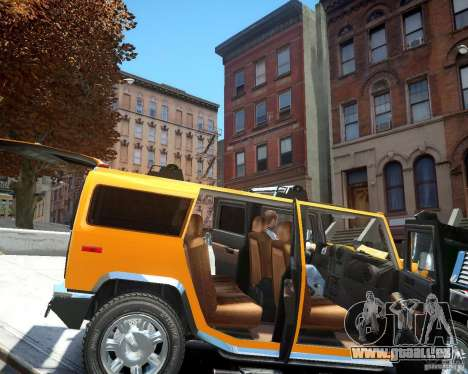 Hummer H2 2010 Limited Edition pour GTA 4 est une vue de l'intérieur