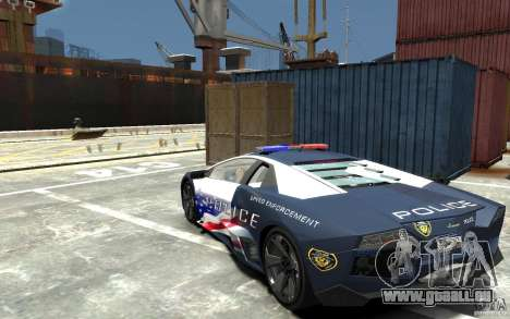Lamborghini Reventon Police Stinger Version pour GTA 4 Vue arrière de la gauche
