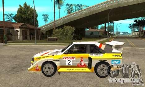 Audi Quattro S1 Group B pour GTA San Andreas laissé vue