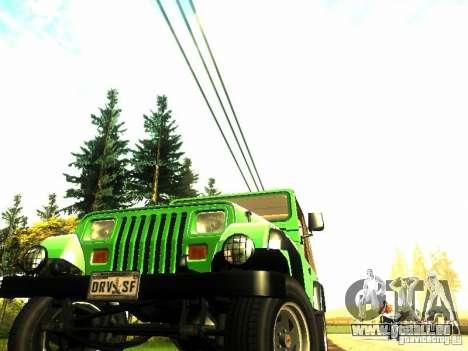 Jeep Wrangler Convertible pour GTA San Andreas vue de droite