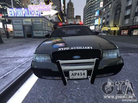 Ford Crown Victoria NYPD Auxiliary pour GTA 4 est une gauche
