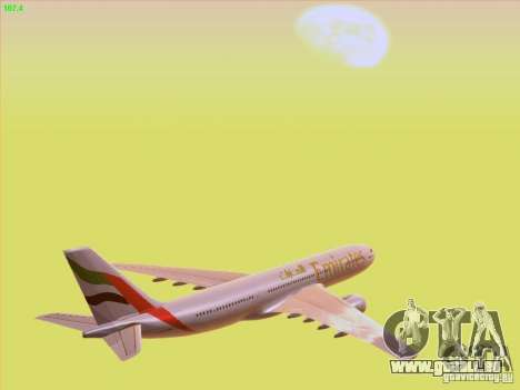 Airbus A330-200 Emirates pour GTA San Andreas vue de dessus