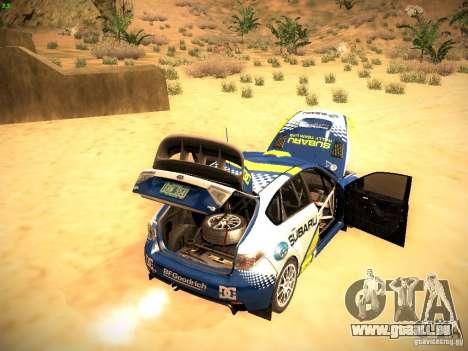 Subaru impreza Tarmac Rally pour GTA San Andreas vue de dessus