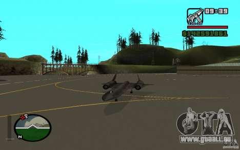 SR-71 Blackbird pour GTA San Andreas vue de droite