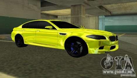 BMW M5 F10 Gold pour GTA San Andreas laissé vue