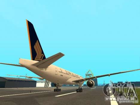 Boeing 777-200 Singapore Airlines pour GTA San Andreas vue de droite
